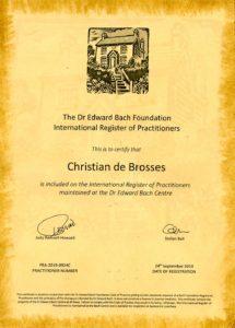 Certificat d'enregistrement de praticien délivré par le Centre Bach - Christian de Brosses